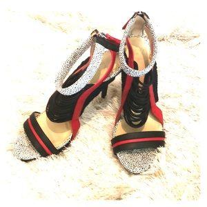 """GX Gwen Stefani Blk & Red Multi 4"""" Sandal 6.5"""